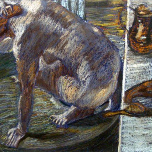 Nu au bain Pastels secs d'aprés Degas. Laura