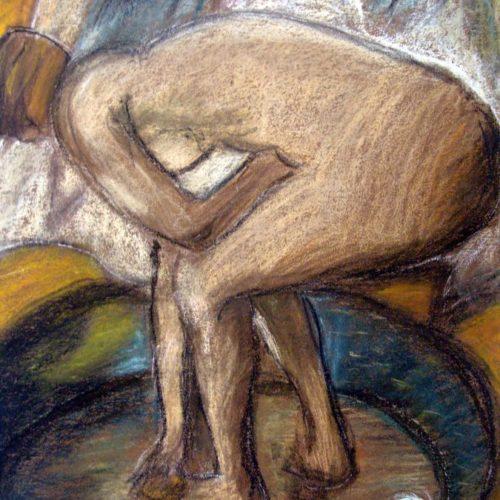 Nu au tub d'aprés Degas Pastels secs Lou Anne