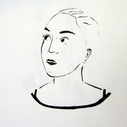 Autoportrait pochoir gouache Lise