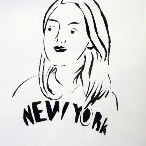 Autoportrait pochoir gouache Lou Anne