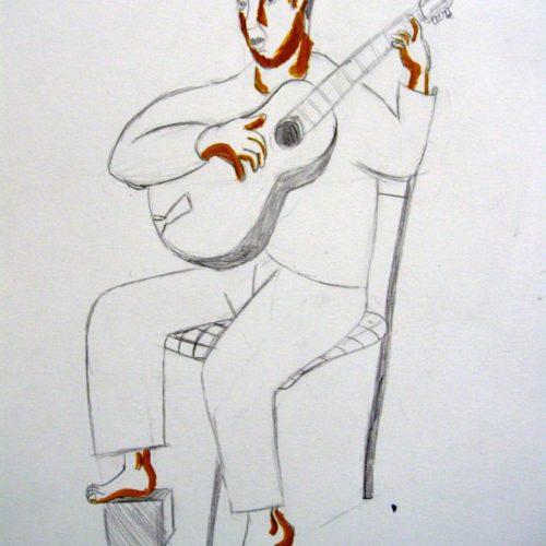 Guitariste Crayon et ombres de gouache Julen d'aprés Loustal