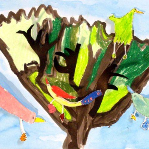 Maianaren obra - Lavis d'encre, pastels, oiseaux gouache découpés